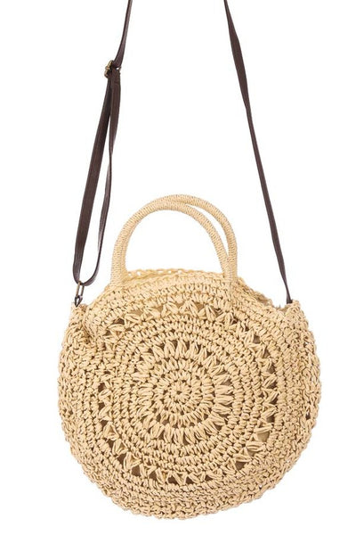 Round Straw Laced Handbag