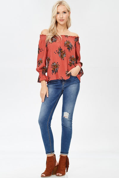 Rust Floral OTS Top