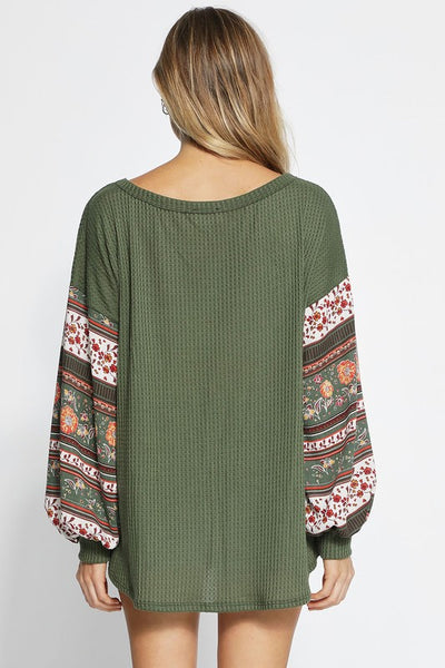 Olive Balloon Sleeve Top