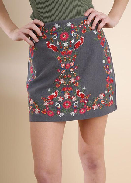 Steel Grey Embroidered Skirt