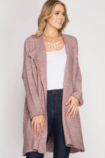 Open Cardigan w/ Cuffed Sleeves