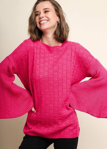 Raspberry Pullover Knit Sweater