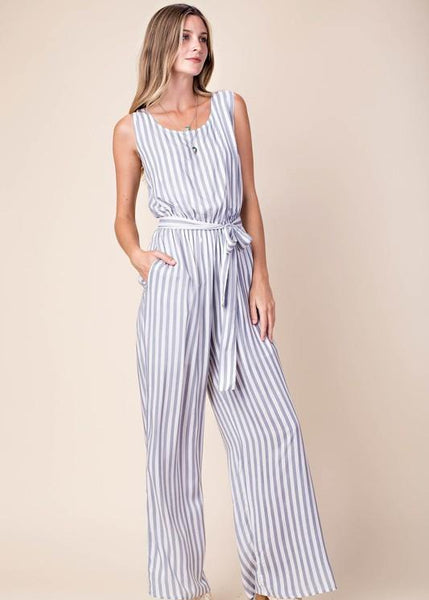 Navy + White Striped Jumpsuit