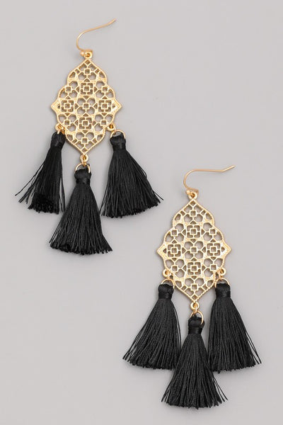 Oval Tassel Earrings