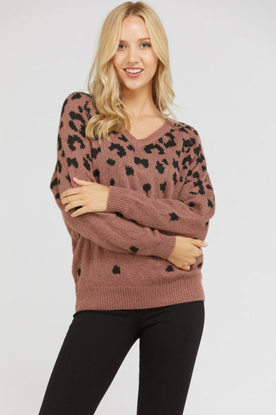 Mauve Leopard V-Neck Sweater