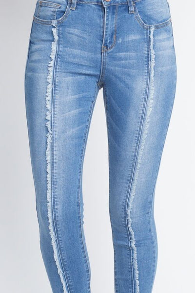 Frayed Split Denim