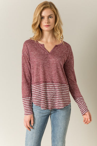 Red + Grey Casual LS Top