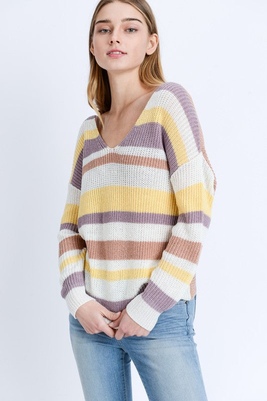 Twist Back Stripe Sweater