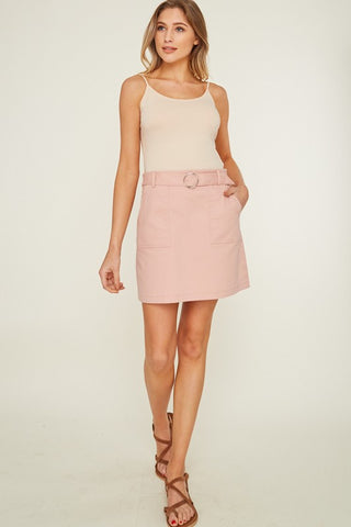 Belted Mini Skirt - Blush