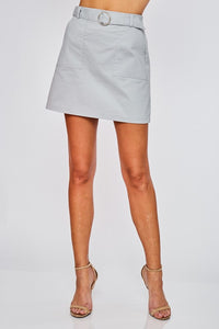 Belted Mini Skirt - Sage