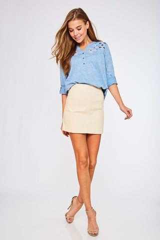 Beige Twill Mini Skirt