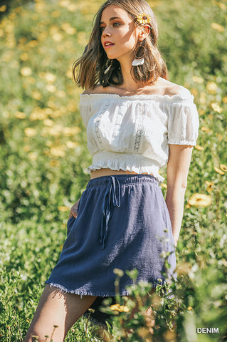 Linen Denim Skirt