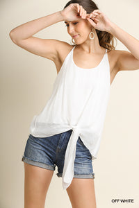 White Bottom Tie Tank Top