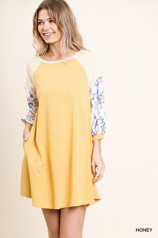 Striped Floral Raglan Dress