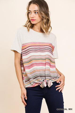 Oatmeal Stripe Tie Top