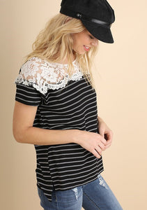 Black + White Striped Top