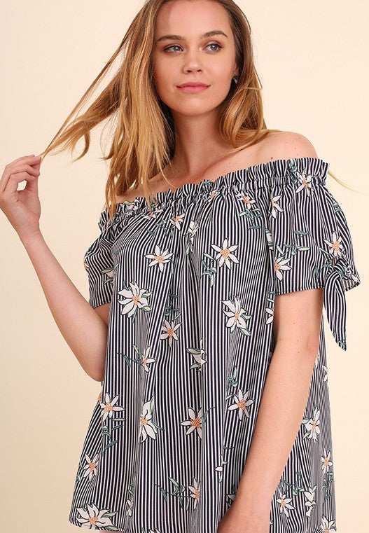 Striped Floral OTS Top