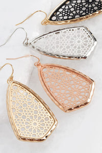 Metal Marquee Filigree Hook Earring