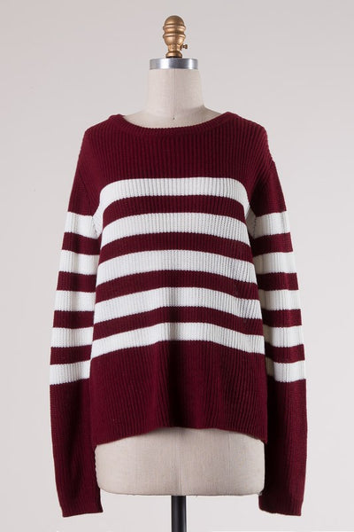 Burgundy + White Striped Sweater