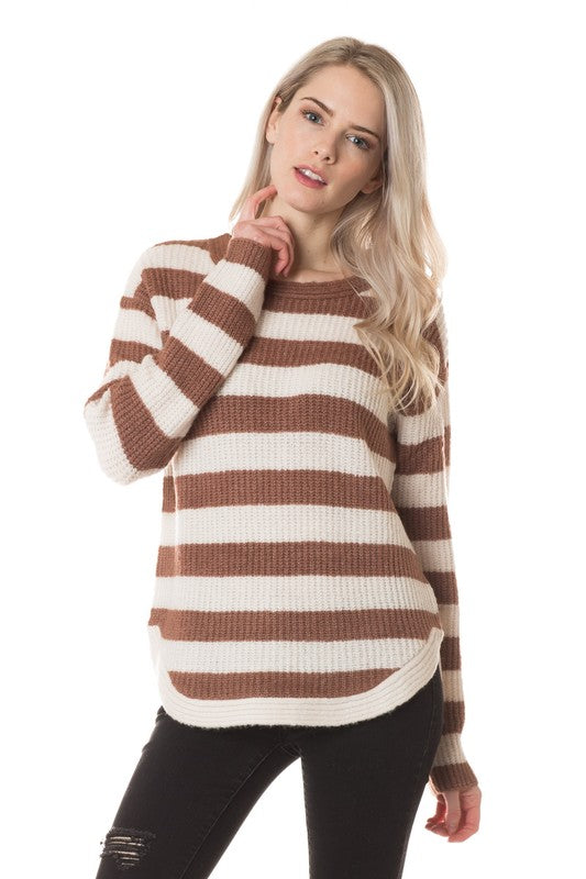 Scoop Hem Striped Sweater