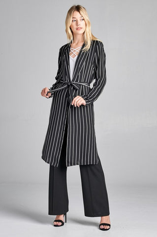 Striped Long Sleeve Duster w/ Tie
