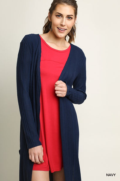 Open Front Long Body Cardigan