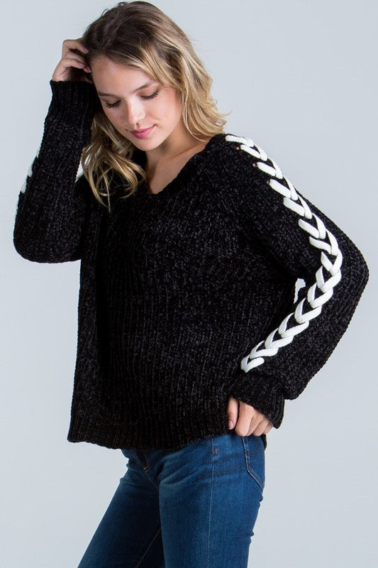Chenille Lace Up Sweater