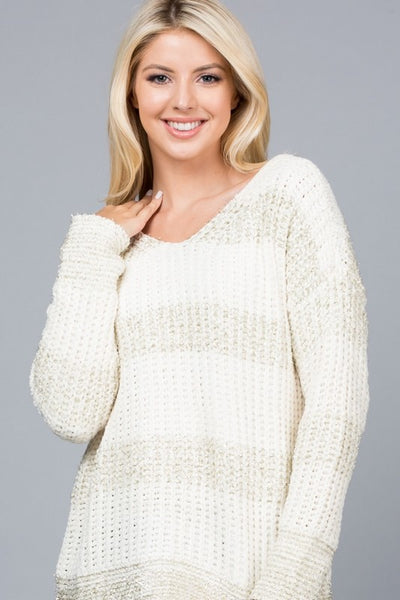 Shimmer Striped V-Neck Sweater