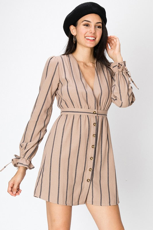 Stripe Button Dress
