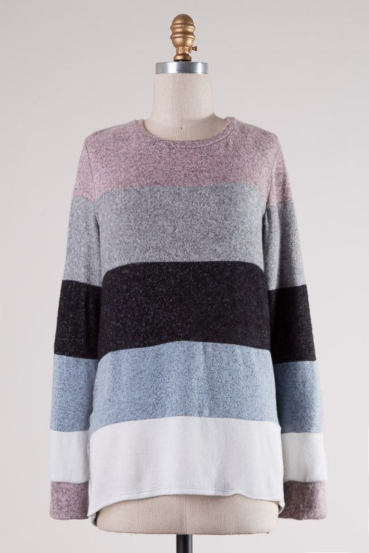 Long Sleeve Color Block Top