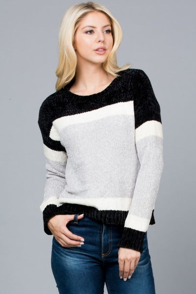 Two Tone Chenille Sweater