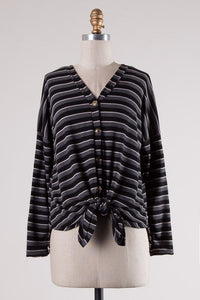 Charcoal Striped Button Top