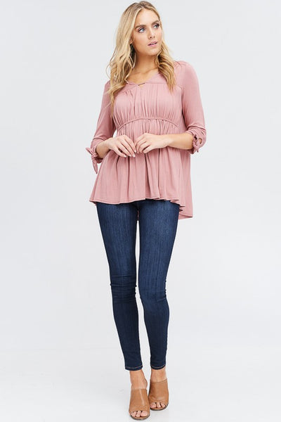 Layered Blouse w/ Bow Sleeve