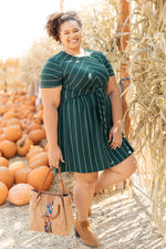 Angles And Stripes Dress in Hunter Green