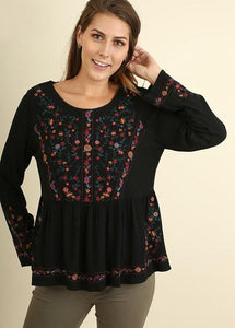 Black Emrbroidered Top