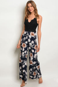 V-Neck Floral Jumpsuit