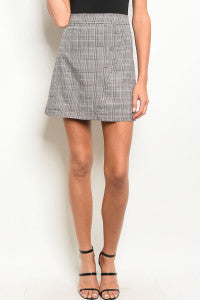 Fitted Checkered Skirt
