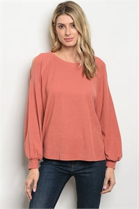 Peach Cold Shoulder Blouse