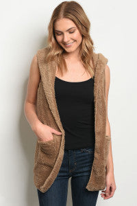 Taupe Sherpa Fur Vest