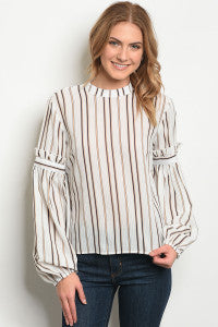 Ivory Long Sleeve + Striped Blouse