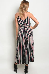 Black + Red Striped Jumpsuit
