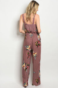 Floral + Striped Jumpsuit