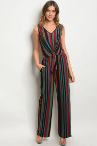 Double V-Neck Colorblock Jumpsuit