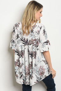 Ivory Floral Peplum Top