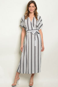 White + Black Striped Midi Dress