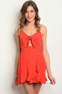 Red Ruffle Tie Dress