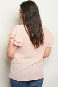 Blush Ruffle Blouse {Curvy}