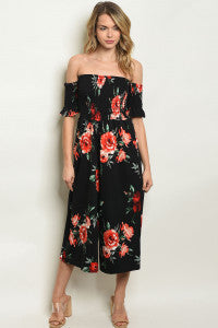 Black Floral Jumpsuit - OTS