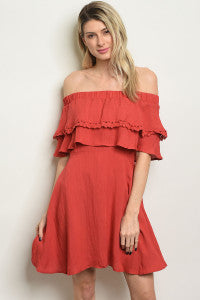 OTS Brick Ruffle Dress