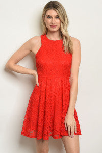 Red Lace Cutout Dress